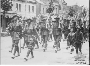 'A' Company, 15th Battalion, marching through Melbourne on 17 December 1914