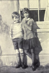 Peter and Audrey Blackburne. A watercolour by Miss K Mayers