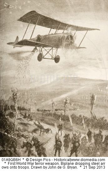 Biplane dropping steel arrows onto troops