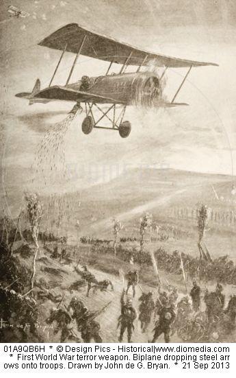 Biplane dropping steel arrows onto troops