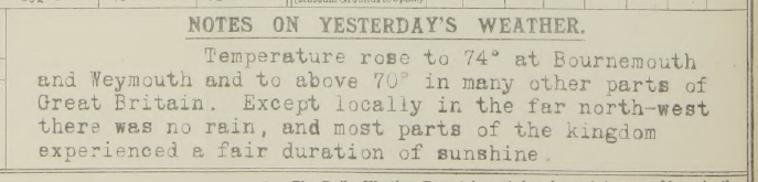 Notes on weather about 24th Aug 1915