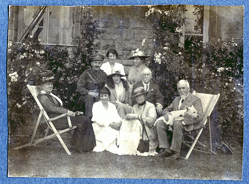 The Fielding Family, 1915. Jack is seated back left, and his father is seated right, with the dog