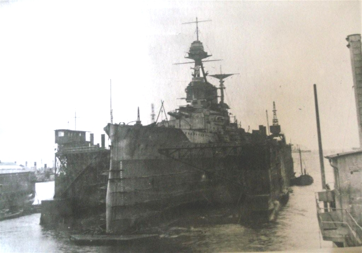 HMS Malaya in dock in Invergordon after Jutland