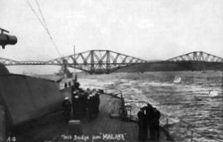 The Forth Bridge from the deck of HMS Malaya