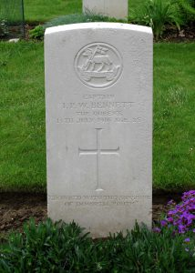 Ivan Bennett's grave in Thiepval, France