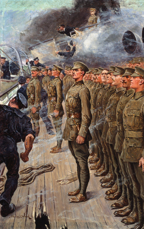 The evacuation of the troopship SS 'Tyndareus', which struck a mine off Cape Agulhas, South Africa, on 6 February 1917. Oil on board by Stanley Llewellyn Wood (1866-1928), 1917 (c).