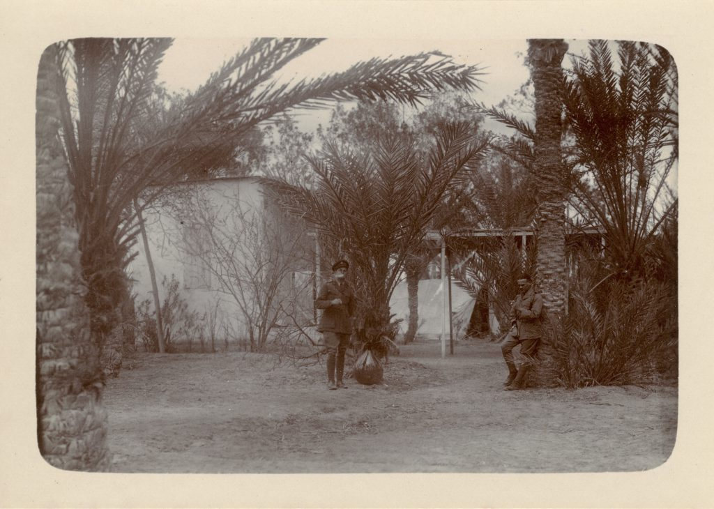"""""""Bedouin dwellings, used as a mess, Ain Musa"""" - 1916"""