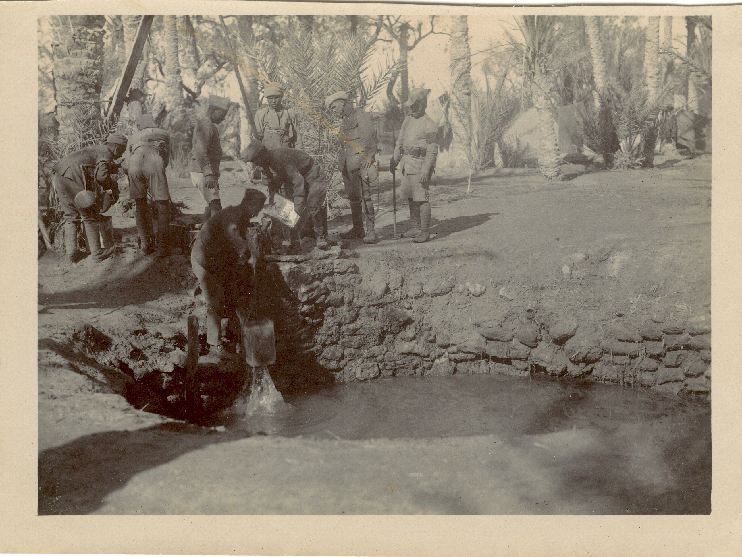 """Captioned """"Moses' Well"""" - with the Garhwal Rifles, Ain Musa 1916"""