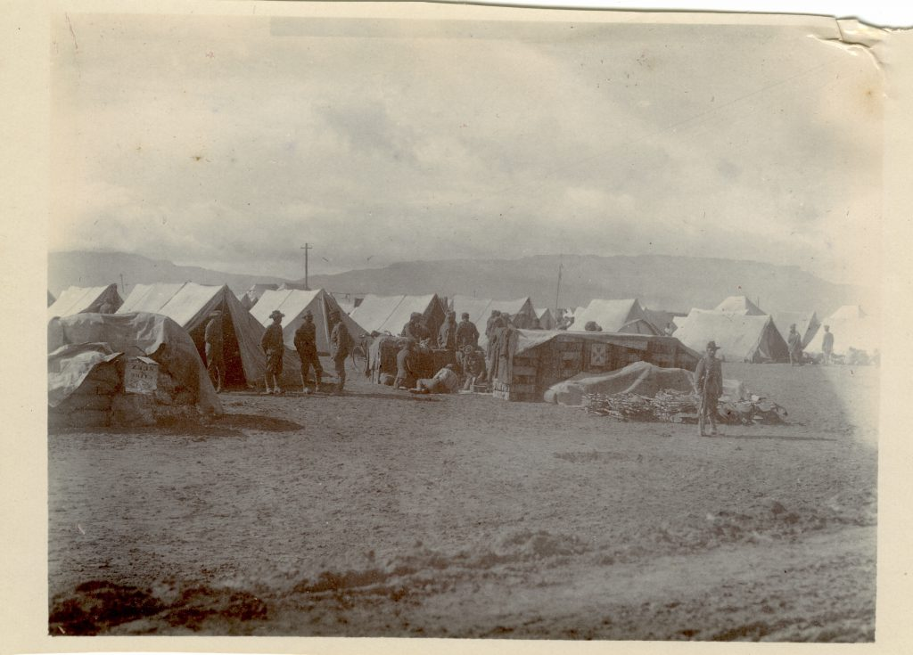 Un-captioned, but probably a camp at Ain Musa with the Gulf of Suez in the background - theGarhwal Rifles in Egypt in 1916