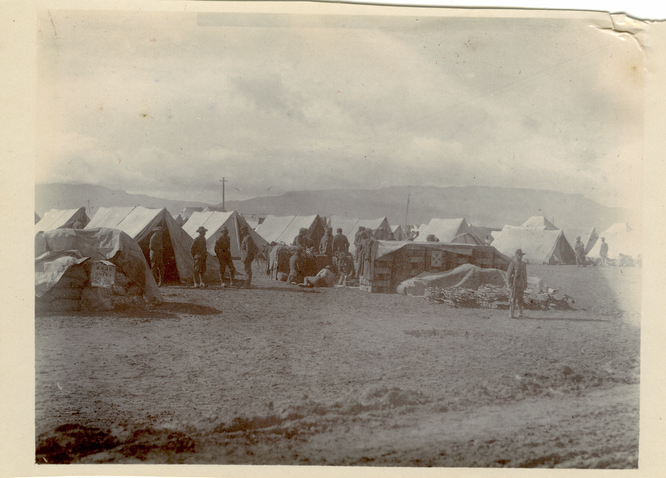 Un-captioned, but probably a camp at Ain Musa with the Gulf of Suez in the background - the Garhwal Rifles in Egypt in 1916