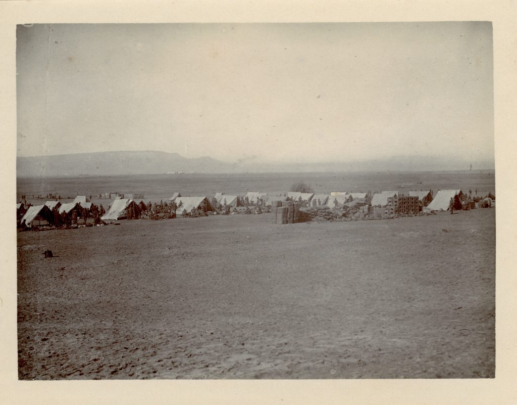 """Camp at Ain Musa: Gulf of Suez in Background"" - with the Garhwal Rifles in 1916"
