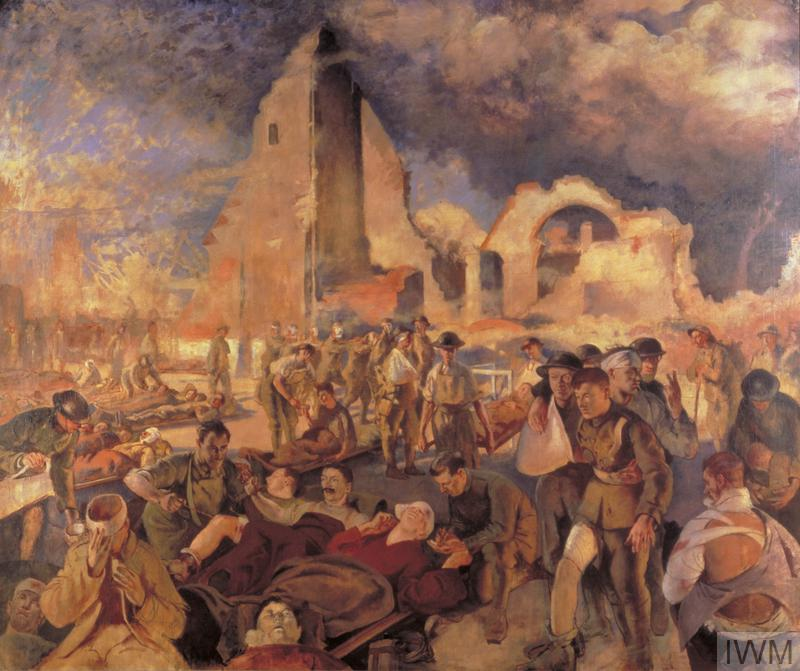 An Advanced Dressing Station in France, 1918 by Henry Tonks (Art.IWM ART 1922) image: A dressing station sited by a ruined church. The scene is crowded with casualties, many being brought in by stretcher-bearers. The men have bandaged limbs and some have head wounds. In the sky above there are dark grey clouds, possibly of smoke, in the left half of the composition, and patches of blue on the right. Copyright: © IWM. Original Source: http://www.iwm.org.uk/collections/item/object/26420
