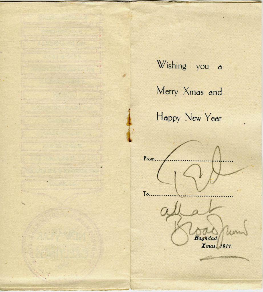 The Christmas 1917 card from the Mesopotamia Campaign - greetings from Ted