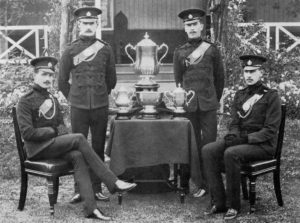 Captain Somerville- Lt D Ovey - 2Lt C F T Swan - Lt T Baring - 3rd Bn RB -winners of the Officers' Challenege Cup and the Wellington Cup - Aldershot Command Rifle Meeting 1909