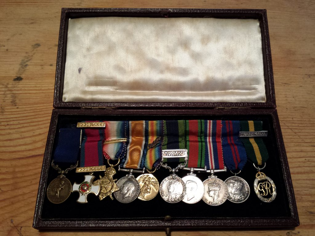 Ted's Medals - the Humane Society Medal on the left, then the DSO, then his WW1 and WW2 service medals